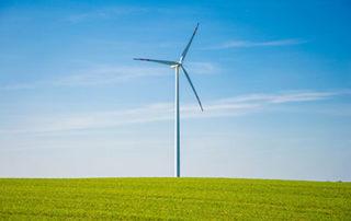 Wind turbine on hilltop