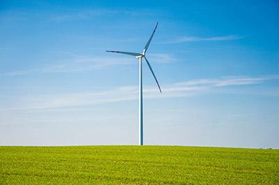 Wind turbine on a hilltop
