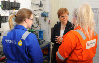 Scottish First Minister Nicola Sturgeon meets oil and gas apprentices