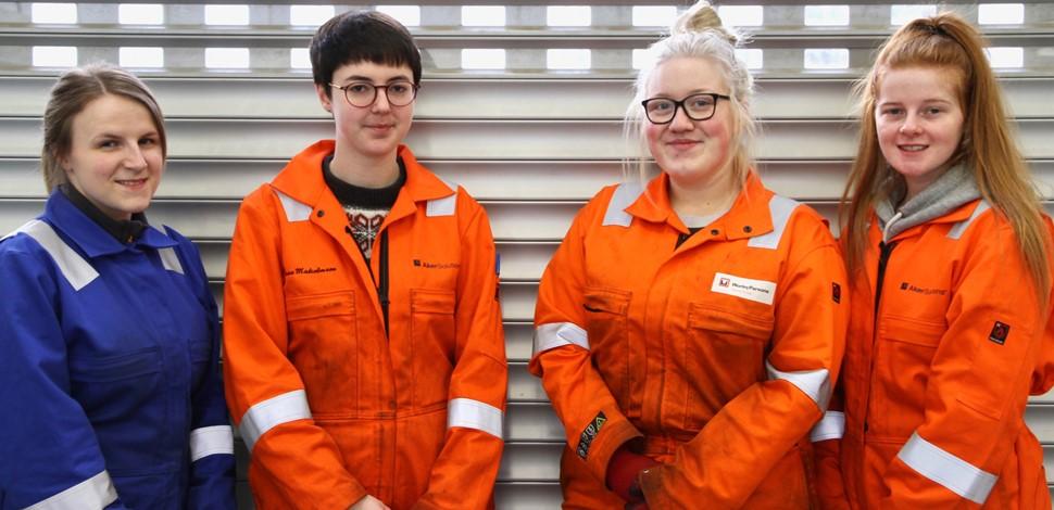 The four female ECITB-sponsored OGTAP apprentices