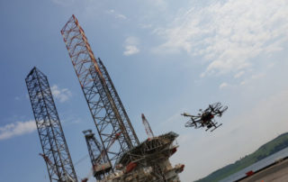 A drone inspects an offshore platform in Dundee Dock