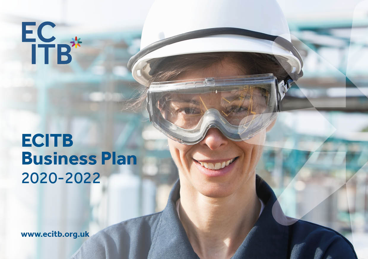 The cover of the ECITB's Business Plan 2020-2022 shows an site worker. She wears a white hard hat, goggle and a blue polo shirt.