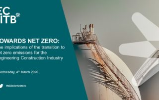 Cover image for the Towards Net Zero: The Implications of the Transition to Net Zero for the Engineering Construction Industry report.